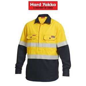 Mens-Hard-Yakka-Fire-Resistant-ShieldTec-Hi-Vis-Safety-Mining-Work-Shirt-Y04550