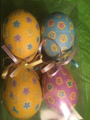 8 Spring Holiday Easter Eggs Ornament Decoration Floral Paper Pastel Yellow Blue Ebay