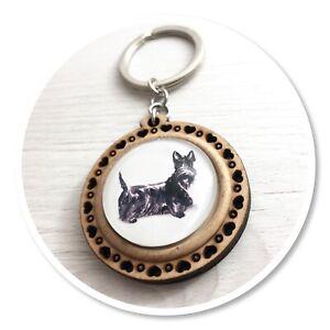 Scottish Terrier  Wooden  keyring key ring scottie black dog