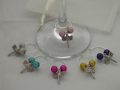 Set Of 6 Handmade Dragonfly Wine Glass Charms Free P&p Exquisite In Workmanship