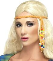 Smiffys 60s 70s Flower Power Hippy Beaded Fancy Dress Hippie Headband New
