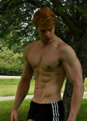 Shirtless Male Beefcake Muscular Red Ginger Pale White Hunk Jock PHOTO 4X6 F1901