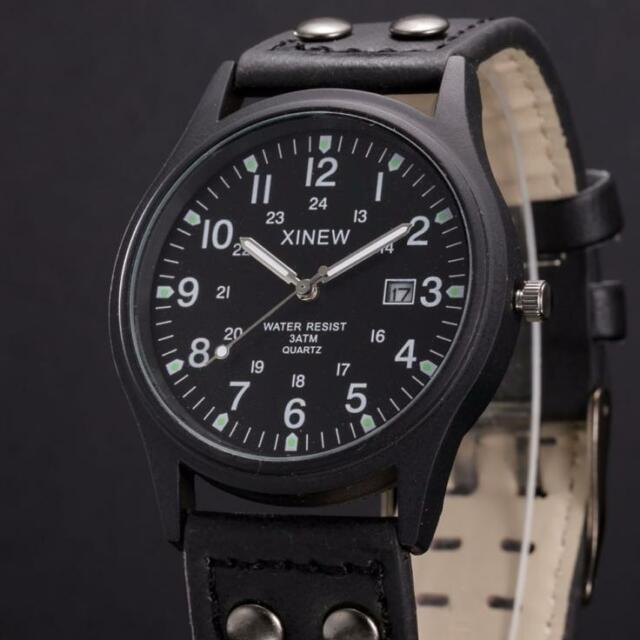 Fashion Men's Date Sport Analog Stainless Steel Leather Band Quartz Wrist Watch
