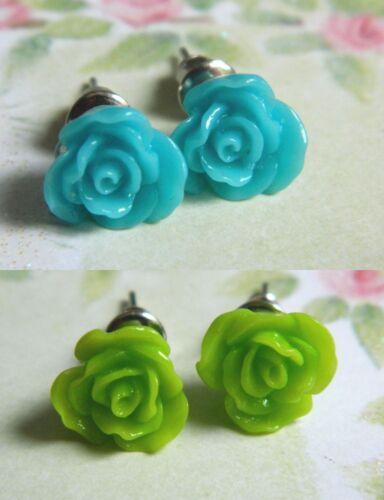ROSE EARRINGS DAISY FLOWERS CLOISONNE STUDS DROP PIERCED RESIN POPPY BLUEBELL