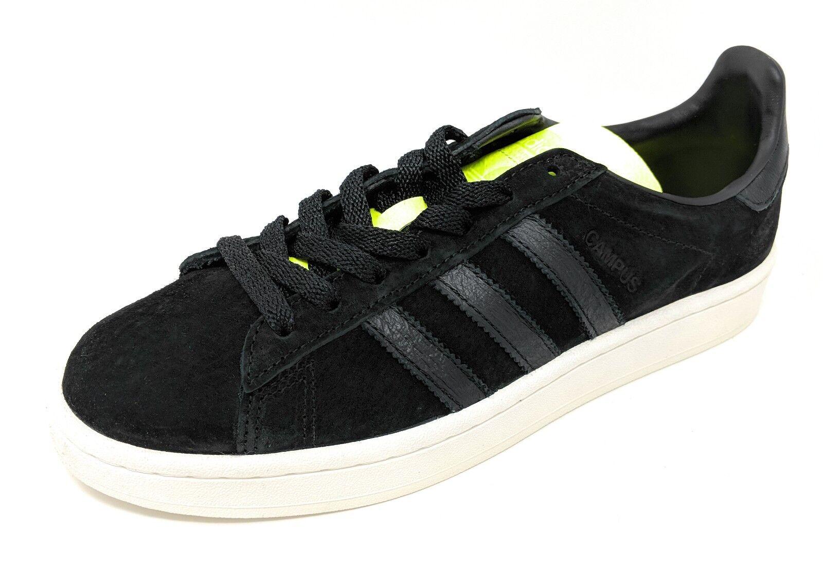 adidas Men's Originals Campus Shoes #BB0082  Black/Black/Yellow Suede Medium