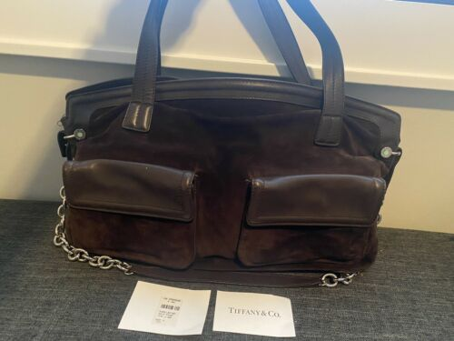 Authentic Tiffany & Co Suede Leather Adair Brown B