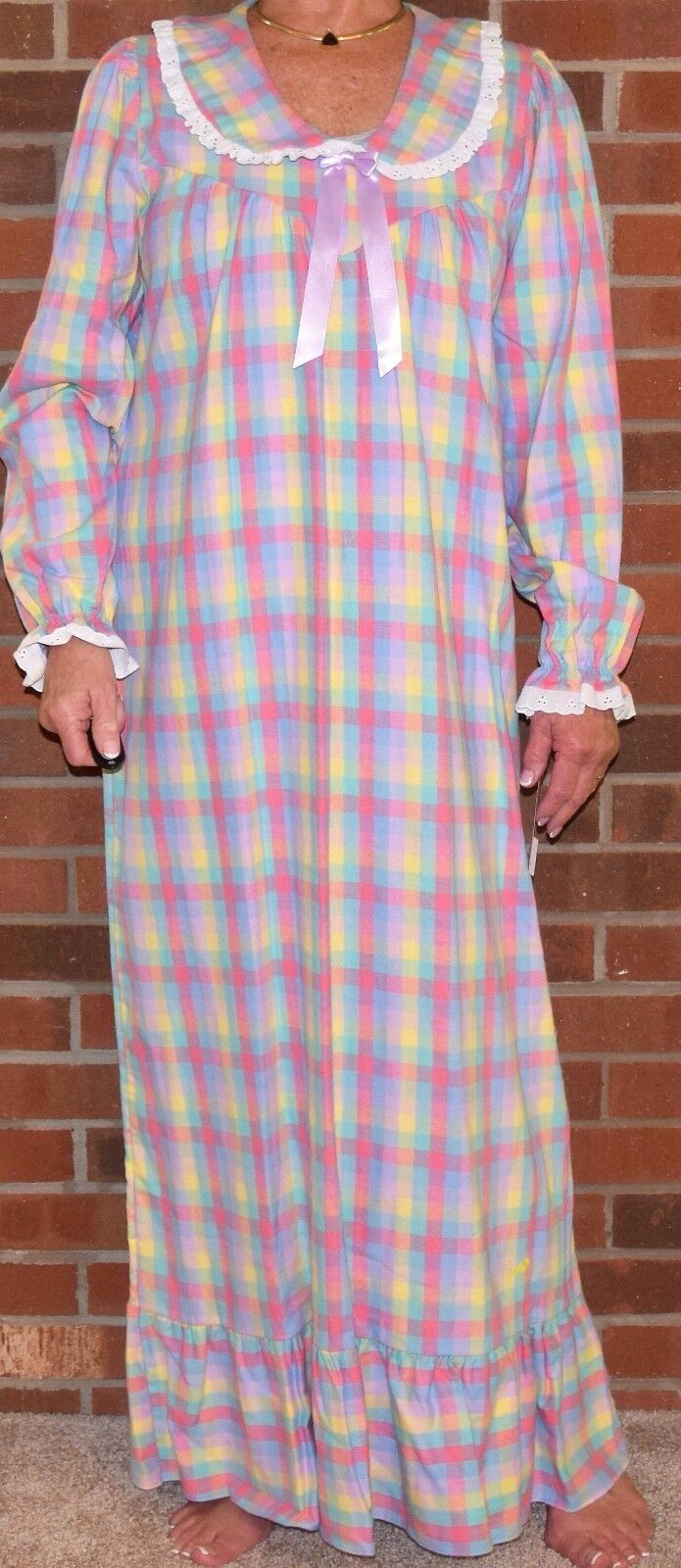 """Nightgown Flannel Great Length 52.5"""" – 57.25"""" Pretty Ribbon and Flounce -"""