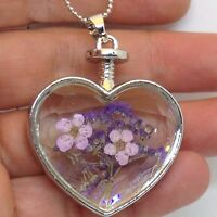 Heart Shape Dried Flower Pendant Necklace Faceted Glass Silver Tone Jewelry