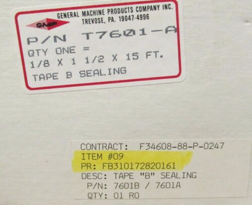 NEW GENERAL MACHINE PROD. T7601A TAPE B SEALING 18 X 1 12 X 15 FT. WM53