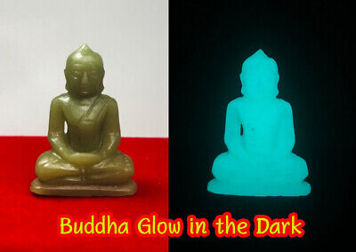 Details about  /Phra Buddha glow in dark Top Thai Amulet Luminous Jade Relics Carved green stone