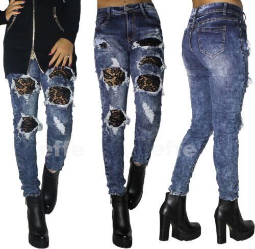 Jeans donna strappati pizzo elasticizzati skinny slim stretti vita alta ricamato