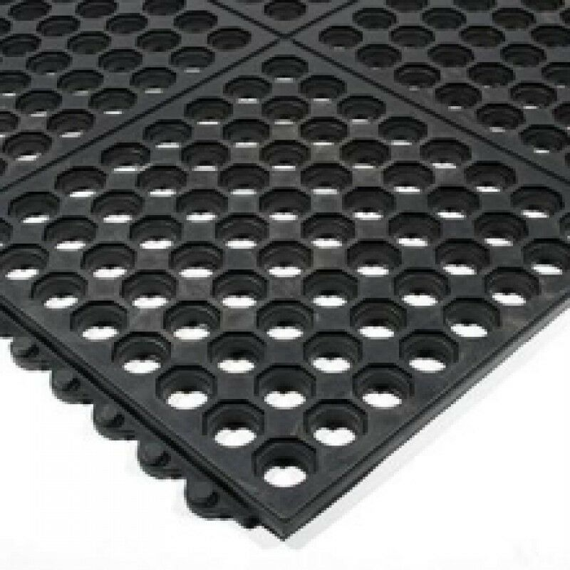 Interlocking Rubber Hot Tub Spa Floor Protector Mat Tiles With Drainage Holes