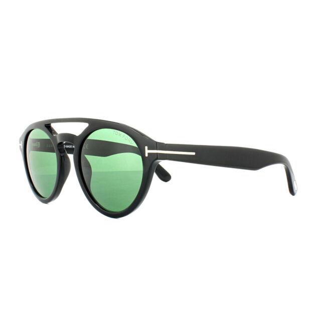 be10e570cc2b2 New Tom Ford Sunglasses TF537 01N Clint Shiny Black Frame Green Lens Fast  Ship