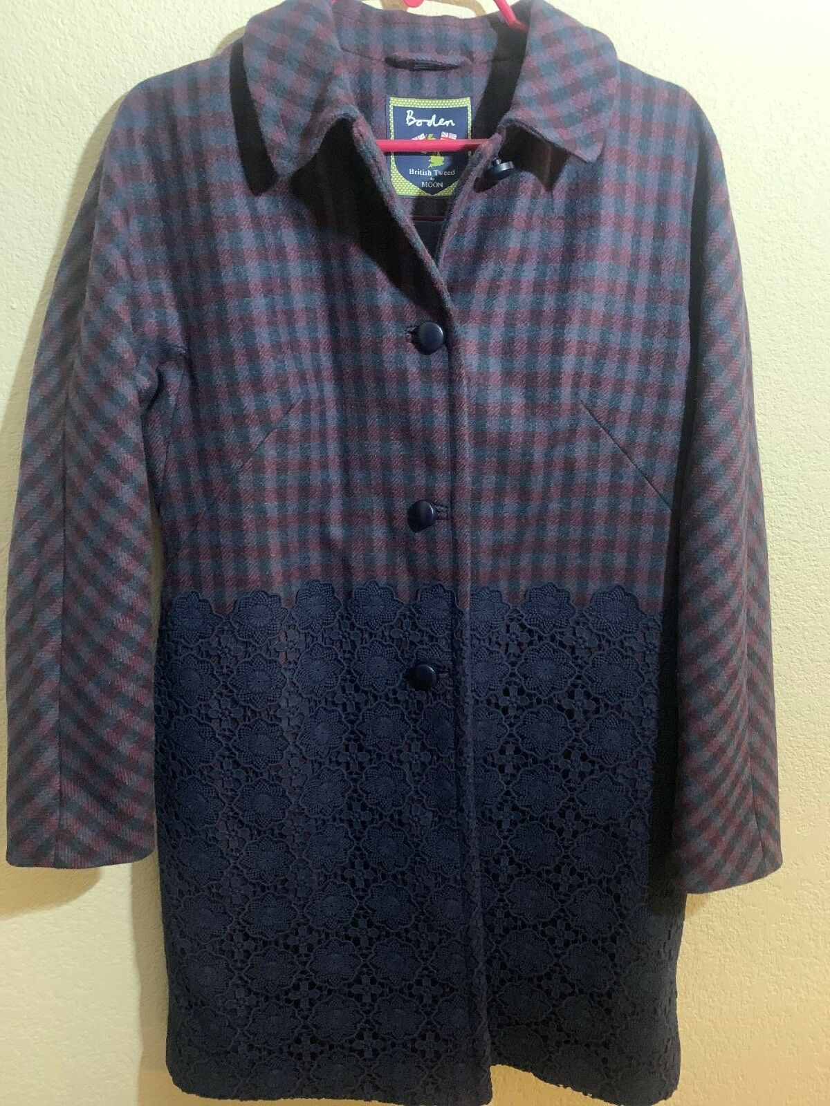 Boden British Tweed Womans US Sz 6 (Small) By Moon Purple Tweed Coat