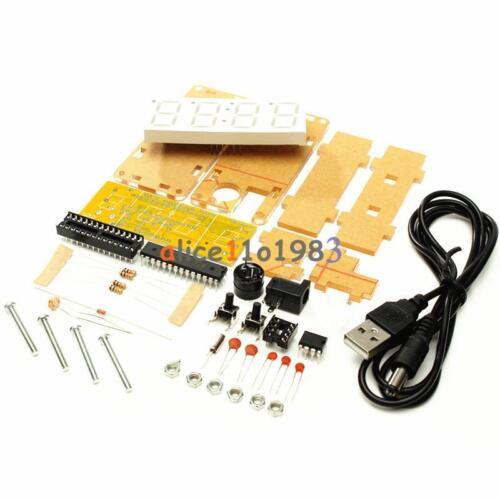DIY Kit Blue LED Electronic Clock Microcontroller Digital Clock Time Thermometer