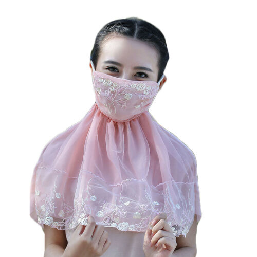 Women Lace Flower Outdoor Neck Protection Scarf Outdoor Face Cover Newly