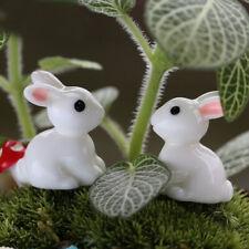 2 Pcs Mini Rabbits Miniature Garden Ornament Resin Craft Fairy Party Decoration