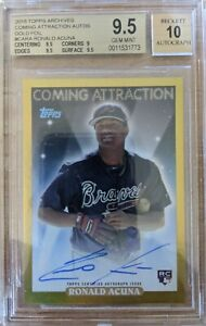 Ronald Acuna 2018 Topps Archives - Coming Attractions Rookie Auto 1/1 Gold Foil