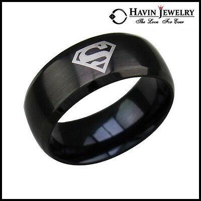 Hot! Men's Black 316L Stainless Steel Superman Shield Band Rings SZ 7-13 Wedding