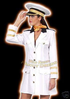 HAT FANCY DRESS DELUXE UNISEX WHITE OFFICERS HAT