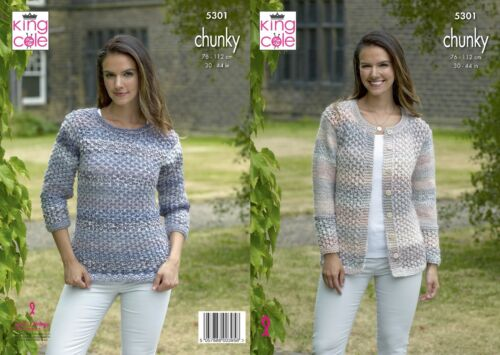 not the finished garments KINGCOLE 5301 Chunky KNITTING PATTERN  30-44INCH