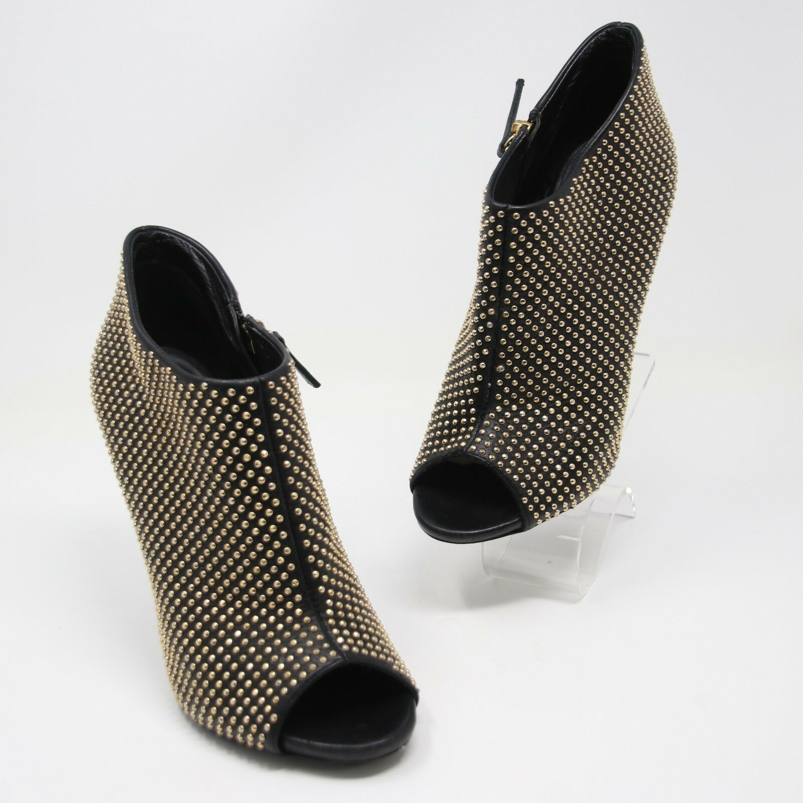Giuseppe Zantotti Black Leather gold Studded Peep Toe Booties Sz 39.5