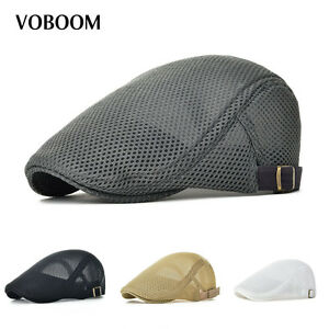 Voboom 2017 Mens Breathable Mesh Summer Hat Newsboy Hat Ivy Cap