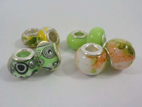 Set of 8 Murano Beads Fit European Bracelets.You pick from 20 variations Lot 27