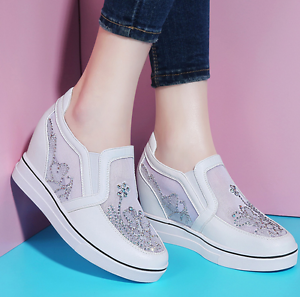 Womens Mesh Rhinestones Breathable Lace Up Sneaker shoes Wedge Hidden Loafers