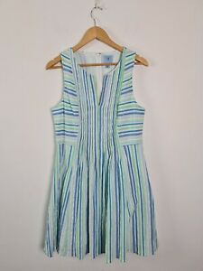 CeCe Striped Summer A-Line Pleated Dress Women's Size 12 Textured Multicolour