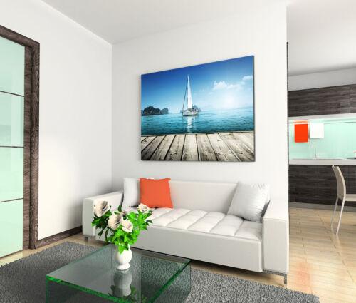 Leinwandbild 120x80cm auf Keilrahmen Schiff,See,Steg,azur-blau,Meer,Himmel,frei