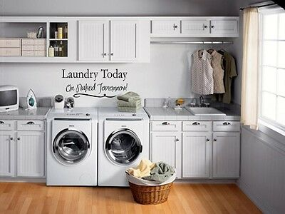 LAUNDRY TODAY OR NAKED Wall Lettering Words Quotes Decal Sticker Vinyl Saying 36