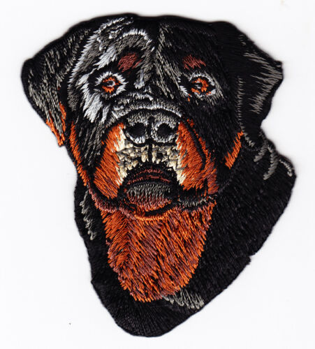 PETS ROTTWEILER FACE ANIMALS -BEST FRIEND//Iron On Embroidered Patch DOGS