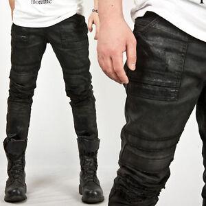 New Mens Fashion Unique Hardcore Vintage Wax Coated Black Slim ...