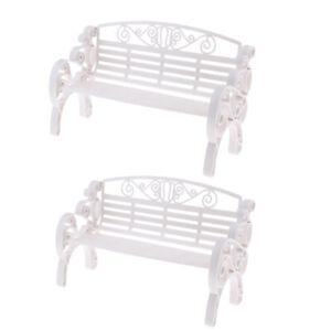 White Garden Patio Park Bench 1:6 Scale Dollhouse Miniature Furniture