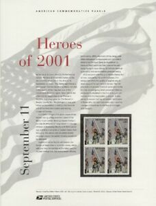 #653 (34c + 11c) Heroes of 2001 #82 USPS Commemorative Stamp Panel