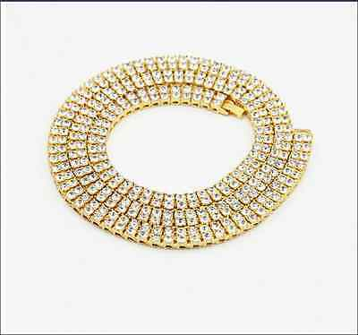 """MEN'S 36"""" ICED OUT 2 ROW 14K FINISH HIP HOP CZ CHAIN NECKLACE"""
