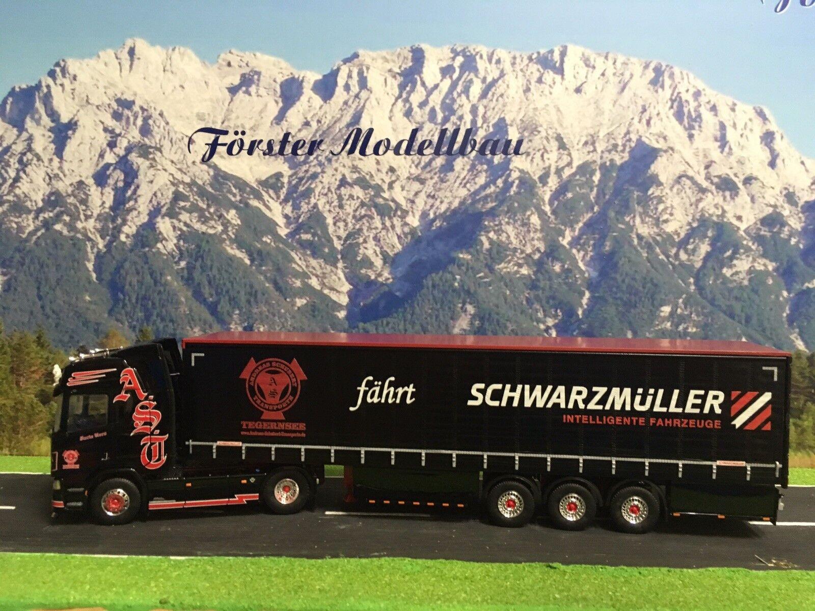 "Tekno 73884 Scania R Gard.pl.-Sz. ""AST Schubert-Forte schwarz"" 1 50"