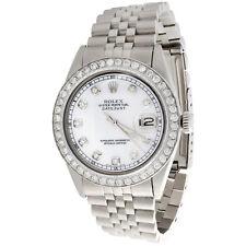 Mens Rolex 36mm DateJust Diamond Watch Jubilee Steel Band White MOP Dial 2 CT.
