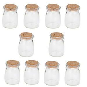 da5dd6ad37ce Details about 10Pcs Mini Round Glass Favor Storage Jars Bottle Containers  with Wood Cork