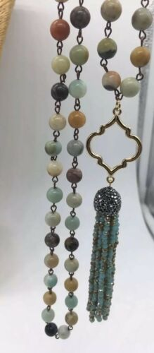 Fashion amazonite Stones Beads Rosary Chain Crystal Tassel Necklace woman gift