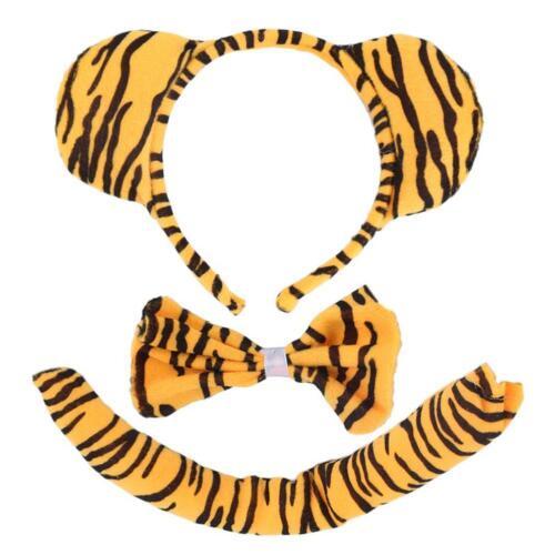 Animal Tiger Tail /& Bunny Ear Hair Headband /& Bow Tie 3Pcs Party Fancy Dress GA