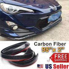 "JDM Carbon Fiber Black Front Bumper Lip Guard Protector Skid Plate Air Dam 2x98"""