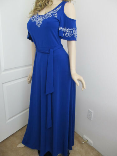 USA Women/'s Cold Shoulder Floral Sleeves Royal Blue Solid Boho Maxi Dress S M