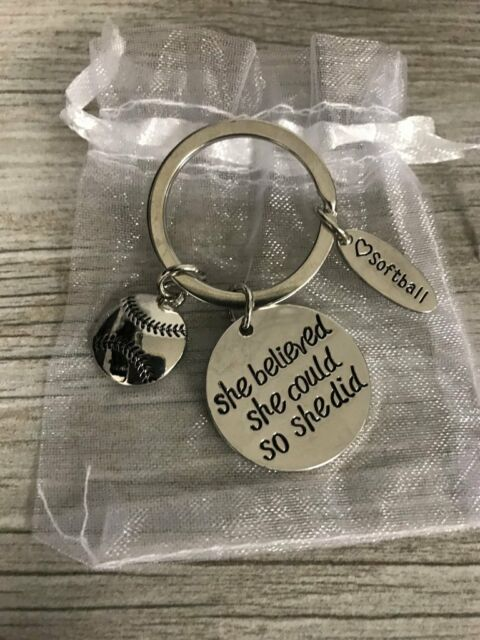 Softball Keychain Gift Girls Jewelry Player Team and Coaches Gifts