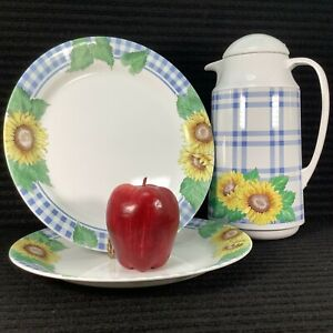 2 Corning Ware Corelle SUNSATIONS Dinner Plates & Matched Thermal Coffee Server