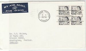Canada 1970 Airmail FDC +Bk Cancel Queen Elizabeth ll Four Stamps Cover ref22015