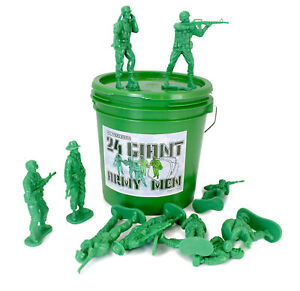 Large-Green-Bucket-24-Giant-Army-Men-Tall-Action-Figures-Toy-Soldier
