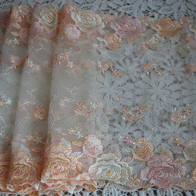 Embroidery Tulle Lace Trim - Cream & Powder Pink Rose Flower - 23cm wide - EM22