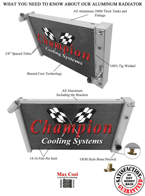 1969-1972 Chevrolet Corvette Big Block All Aluminum 3 Row KR Champion Radiator